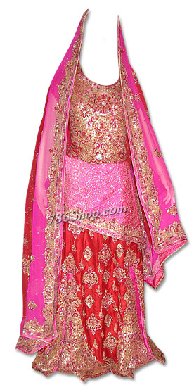 Pink/Red Pure Katan Silk Lehnga | Pakistani Wedding Dresses in USA