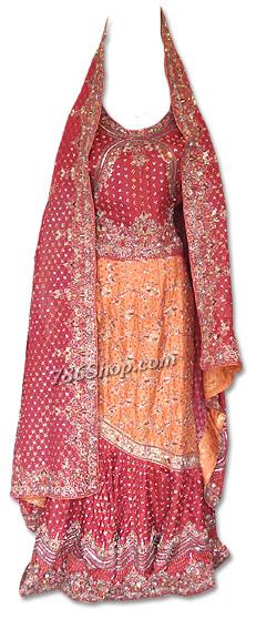 Maroon/Orange Pure Katan Silk Lehnga | Pakistani Wedding Dresses in USA