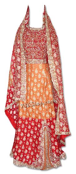 Red/Orange Pure Jamawar Silk Lehnga   Pakistani Wedding Dresses in USA