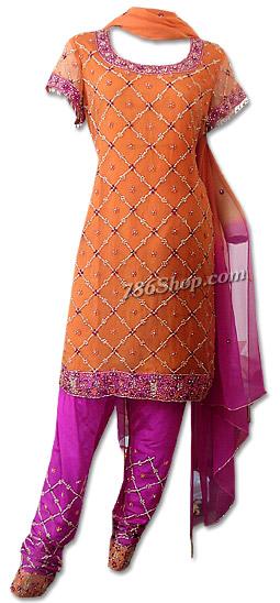 Orange/Hot Pink Crinkle Chiffon Suit | Pakistani Dresses in USA