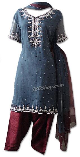 Dark Grey/Maron Crinkle Chiffon Suit   Pakistani Dresses in USA