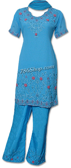 Light Blue Georgette Trouser Suit | Pakistani Dresses in USA