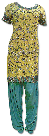 Lime Green/Turquoise Chiffon Suit | Pakistani Dresses in USA