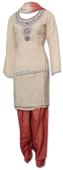 Cream/Brown Chiffon Suit   Pakistani Dresses in USA