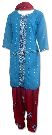 Turquoise/Maroon Chiffon Suit | Pakistani Dresses in USA