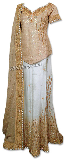 Golden/White Jamawar Lehnga   Pakistani Wedding Dresses in USA