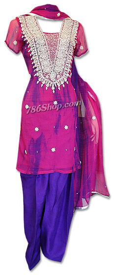 Magenta/Blue Chiffon Suit | Pakistani Dresses in USA