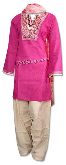 Hot Pink/Skin Cotton Khaddar Suit   Pakistani Dresses in USA