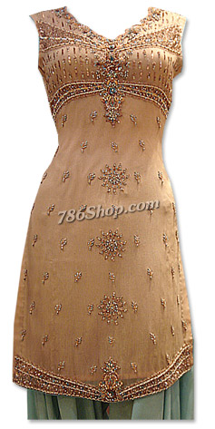 Peach/Light Green Crinkle Chiffon Suit | Pakistani Dresses in USA