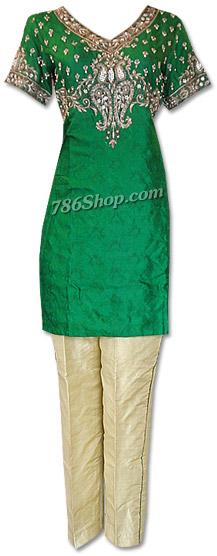 Bottle Green/Cream Jamawar Suit | Pakistani Dresses in USA