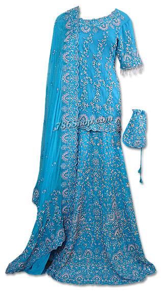 Turquoise Crinkle Chiffon Lehnga | Pakistani Wedding Dresses in USA