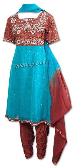 Brown/Turquoise Chiffon Anarkali Suit   Pakistani Dresses in USA