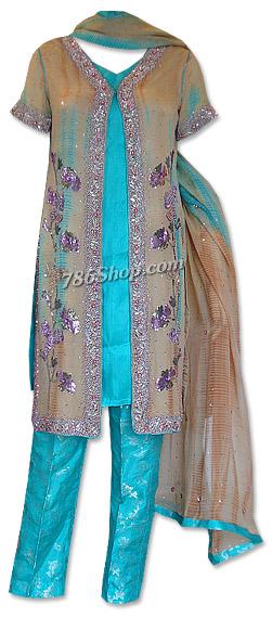 Fawn/Turquoise Chiffon Suit | Pakistani Dresses in USA