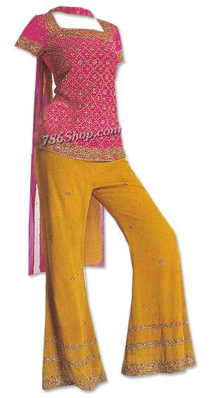 Magenta/Mustard Chiffon Trouser Suit   Pakistani Dresses in USA