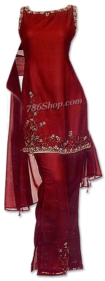 Maroon Raw Silk Trouser Suit | Pakistani Dresses in USA