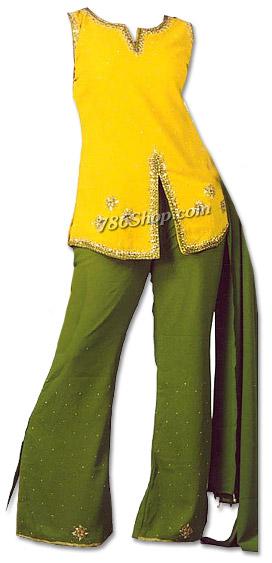 Yellow/Green Chiffon Trouser Suit | Pakistani Dresses in USA