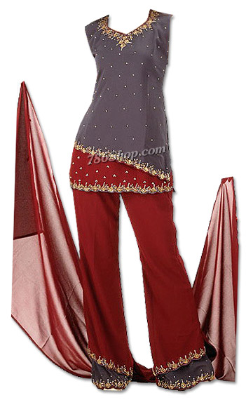 Grey/Maroon Chiffon Trouser Suit | Pakistani Dresses in USA