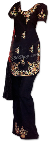 Navy Blue Georgette Trouser Suit | Pakistani Dresses in USA