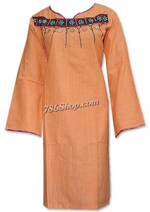 Peach Cotton Khaddar Suit | Pakistani Dresses in USA