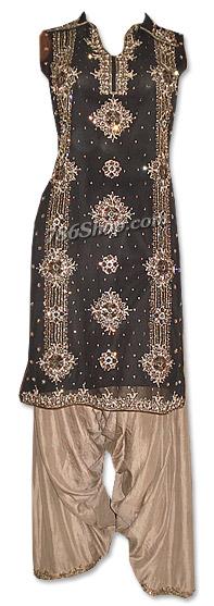 Black/Brown Crinkle Chiffon Suit   Pakistani Dresses in USA
