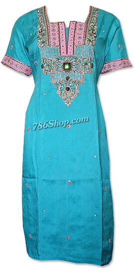 Turquoise Silk Suit    Pakistani Dresses in USA