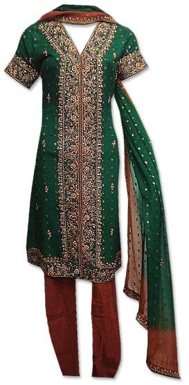 Dark Green/Brown Crinkle Chiffon Suit  | Pakistani Dresses in USA
