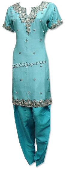 Turquoise Crinkle Chiffon Suit  | Pakistani Dresses in USA