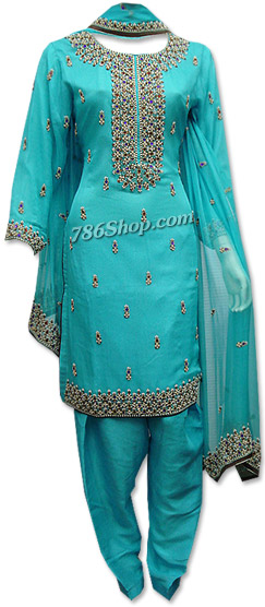 Turquoise Crinkle Chiffon Suit | Pakistani Dresses in USA