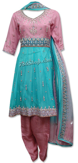 Pink/Turquoise Crinkle Chiffon Suit | Pakistani Dresses in USA