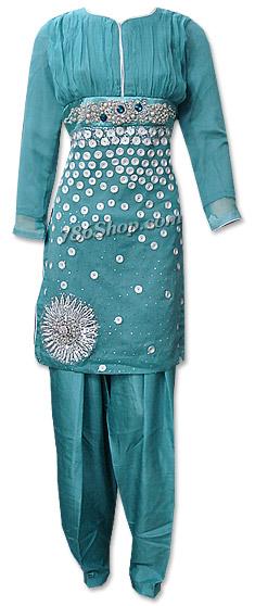 Light Turquoise Crinkle Chiffon Suit   Pakistani Dresses in USA