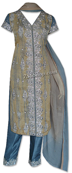 Beige/Turquoise Crinkle Chiffon Suit | Pakistani Dresses in USA