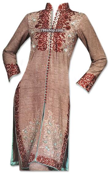 Brown Khaddar Suit  | Pakistani Dresses in USA