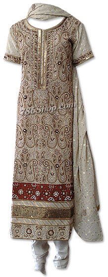 Light Golden Jamawar Suit | Pakistani Dresses in USA