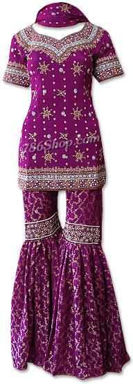 Dark Purple Jamawar Zari Gharara  | Pakistani Wedding Dresses