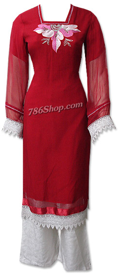 Red/White Chiffon Suit | Pakistani Dresses in USA