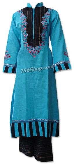 Turquoise/Black Khaddar Suit  | Pakistani Dresses in USA