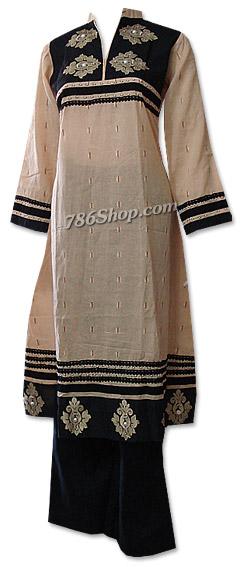 Skin/Black Khaddar Suit  | Pakistani Dresses in USA