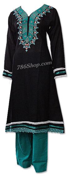 Black/Sea Green Khaddar Suit  | Pakistani Dresses in USA