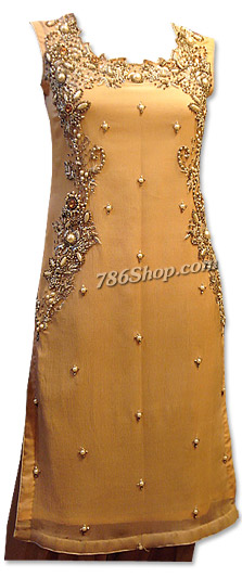 Peach Crinkle Chiffon Suit   Pakistani Dresses in USA