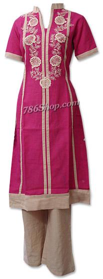 Hot Pink/Skin Khaddar Suit | Pakistani Dresses in USA