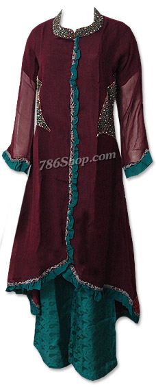 Dark Brown/Green Chiffon Suit  | Pakistani Dresses in USA