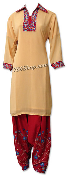 Cream/Maroon Georgette Suit | Pakistani Dresses in USA