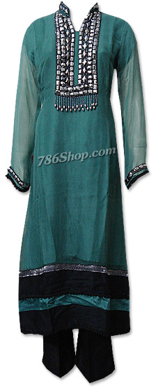 Teal Green Chiffon Suit    | Pakistani Dresses in USA