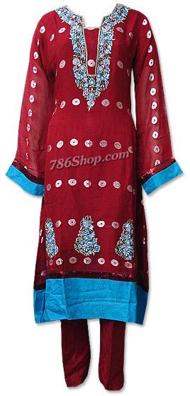 Red Chiffon Jamawar Suit    | Pakistani Dresses in USA