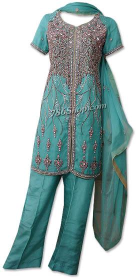 Sea Green Crinkle Chiffon Suit | Pakistani Dresses in USA