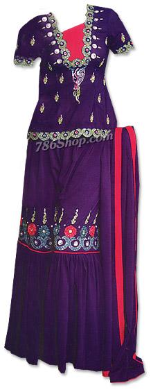 Dark Purple Georgette Gharara Suit   | Pakistani Wedding Dresses