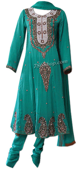 Sea Green Crinkle Chiffon Suit | Pakistani Dresses in USA