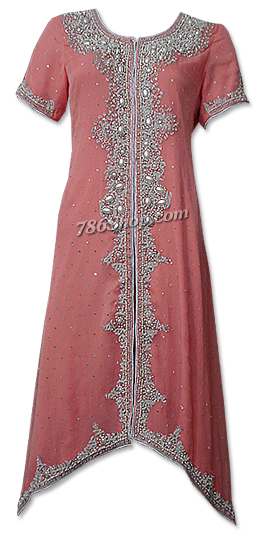 Peach Crinkle Chiffon Suit  | Pakistani Dresses in USA