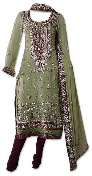 Pistachio Green Crinkle Chiffon Suit | Pakistani Dresses in USA