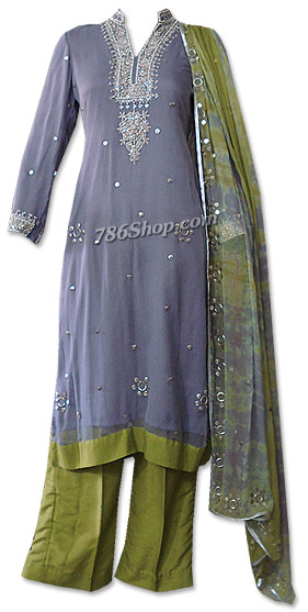 Blueberry/Parrot Green Crinkle Chiffon Suit | Pakistani Dresses in USA
